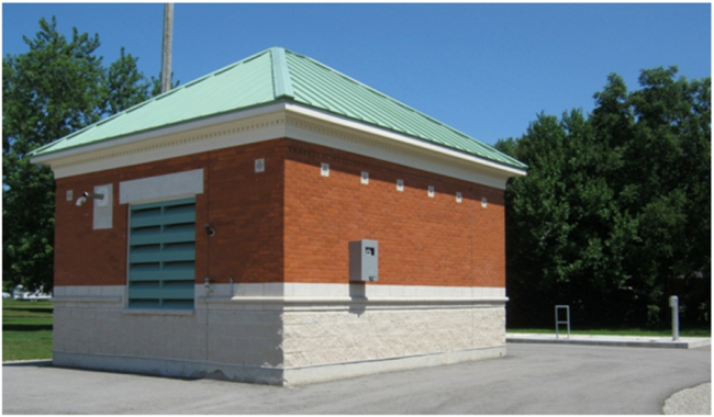 A utility building at the Mount Brydges sewage treament plant